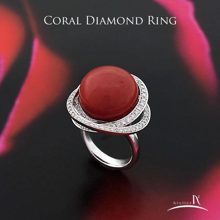 血赤サンゴ ダイヤモンド リング