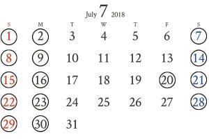 銀座店7月カレンダー