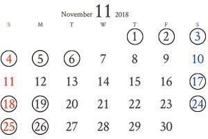 銀座11月カレンダー