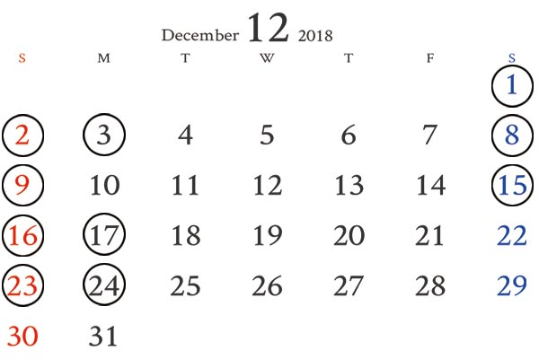 銀座カレンダー12月