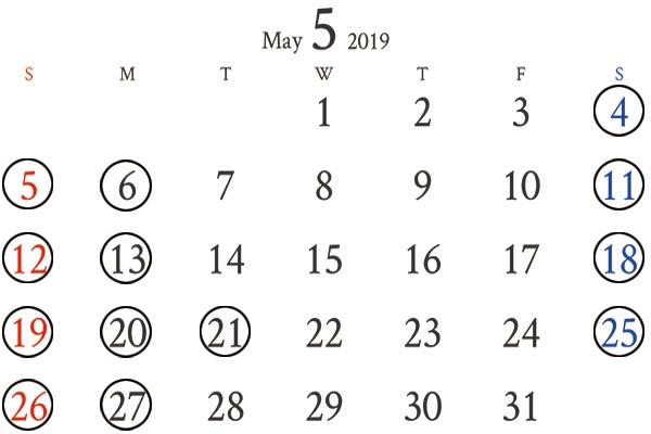 銀座店5月のカレンダー