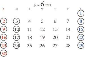 銀座6月カレンダー