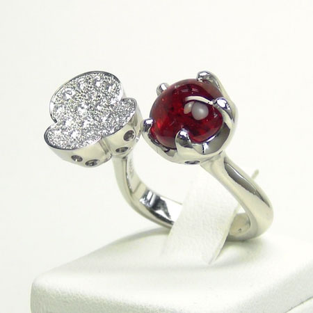 レッドベリル ダイヤモンド リング