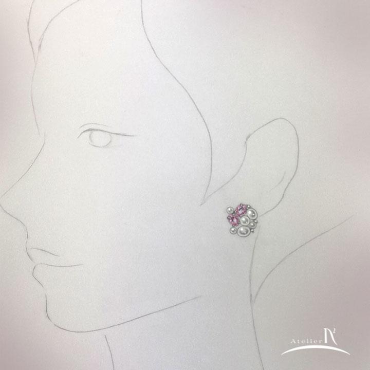 ピンクサファイア パール イヤリング デザイン画