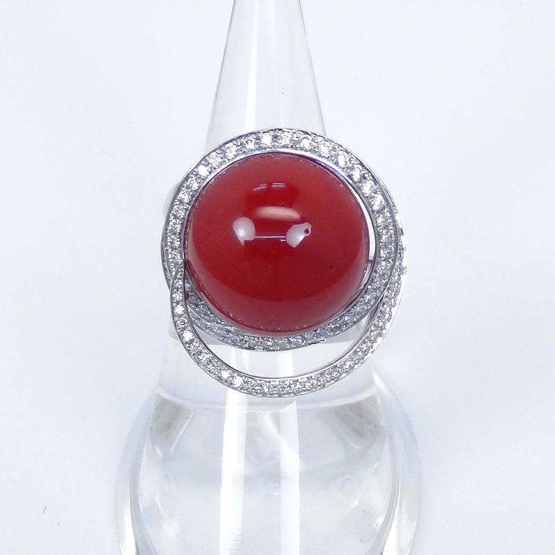 血赤サンゴダイヤモンドリング
