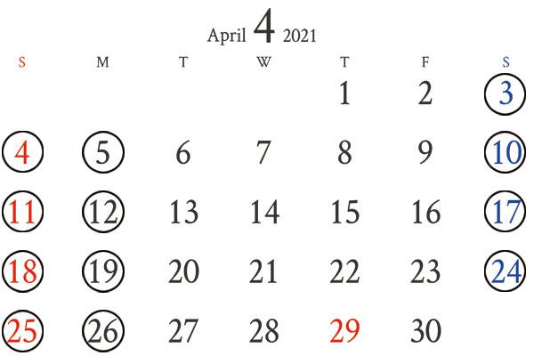 銀座店4月カレンダー