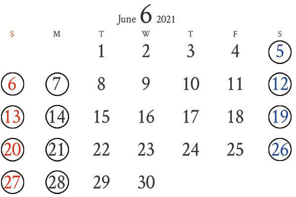 銀座店 6月カレンダー