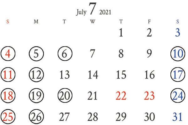 銀座7月カレンダー