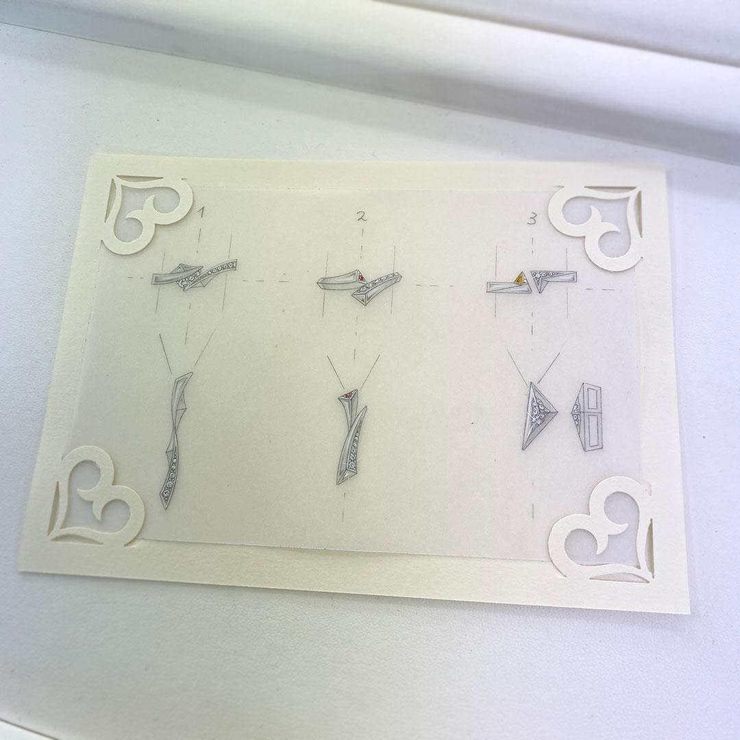 マッターホルンのリングとペンダントのデザイン画