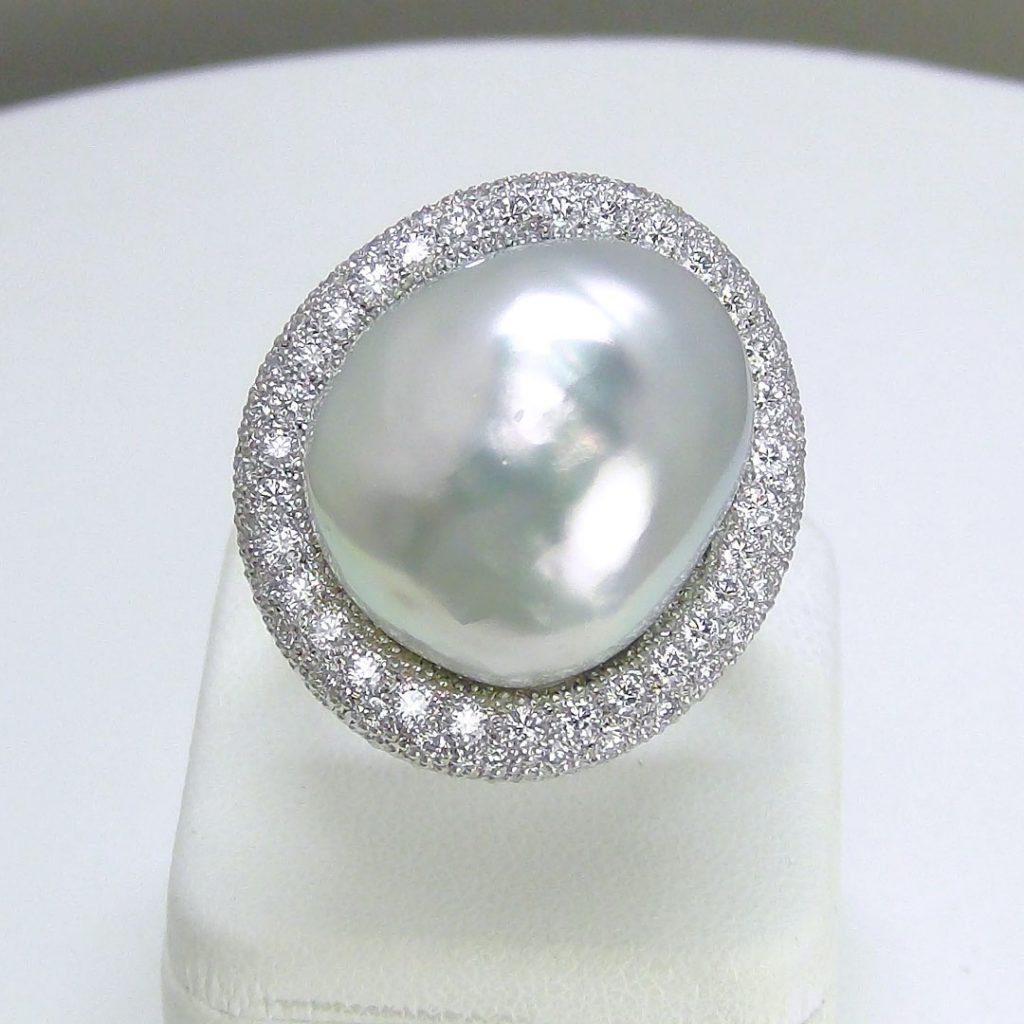 Pt900 南洋バロックパール ダイヤモンド リング