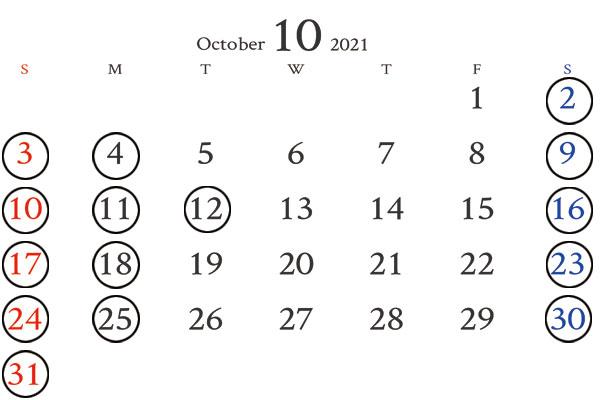 銀座店10月カレンダー