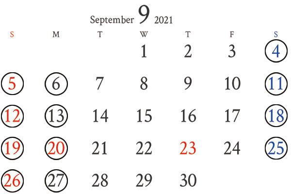銀座店9月カレンダー